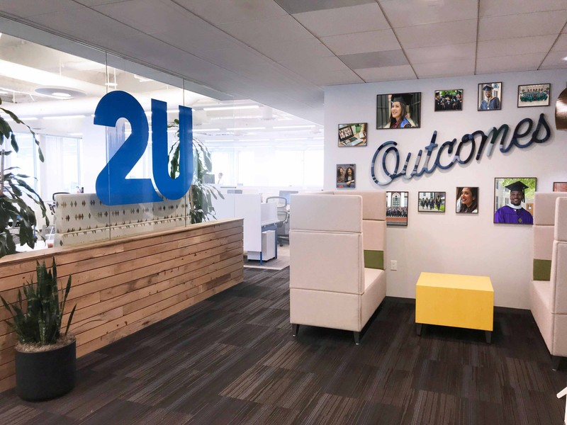 An office with a large 2U sign on a window and another sign that says